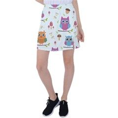 Forest-seamless-pattern-with-cute-owls Tennis Skirt