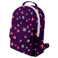 Colorful-stars-hearts-seamless-vector-pattern Flap Pocket Backpack (small) by Bejoart