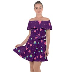 Colorful-stars-hearts-seamless-vector-pattern Off Shoulder Velour Dress