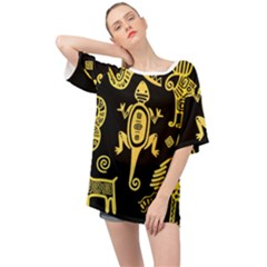 Mexican-culture-golden-tribal-icons Oversized Chiffon Top