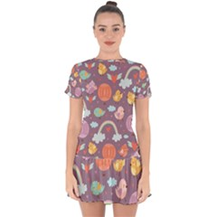 Cute-seamless-pattern-with-doodle-birds-balloons Drop Hem Mini Chiffon Dress