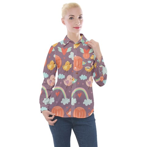 Cute-seamless-pattern-with-doodle-birds-balloons Women s Long Sleeve Pocket Shirt by Bejoart