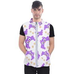 Purple-owl-pattern-background Men s Puffer Vest