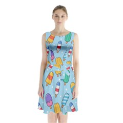 Cute-kawaii-ice-cream-seamless-pattern Sleeveless Waist Tie Chiffon Dress by Bejoart