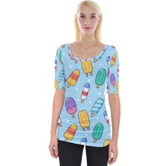 Cute-kawaii-ice-cream-seamless-pattern Wide Neckline Tee