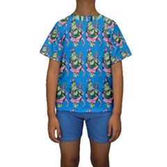 Monster And Cute Monsters Fight With Snake And Cyclops Kids  Short Sleeve Swimwear by DinzDas