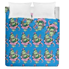 Monster And Cute Monsters Fight With Snake And Cyclops Duvet Cover Double Side (queen Size)