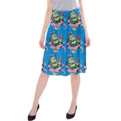 Monster And Cute Monsters Fight With Snake And Cyclops Midi Beach Skirt by DinzDas