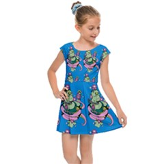 Monster And Cute Monsters Fight With Snake And Cyclops Kids  Cap Sleeve Dress by DinzDas