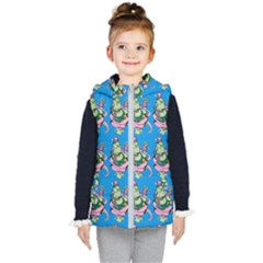 Monster And Cute Monsters Fight With Snake And Cyclops Kids  Hooded Puffer Vest by DinzDas