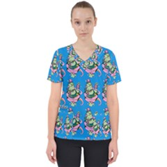 Monster And Cute Monsters Fight With Snake And Cyclops Women s V-neck Scrub Top by DinzDas