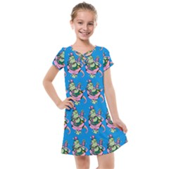 Monster And Cute Monsters Fight With Snake And Cyclops Kids  Cross Web Dress by DinzDas