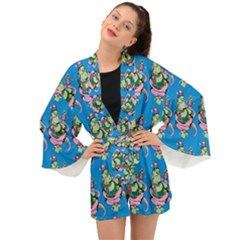 Monster And Cute Monsters Fight With Snake And Cyclops Long Sleeve Kimono by DinzDas