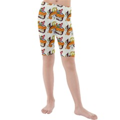 Love And Flowers And Peace Fo All Hippies Kids  Mid Length Swim Shorts by DinzDas