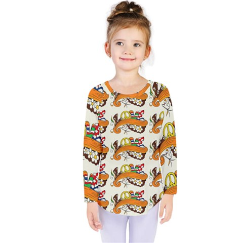 Love And Flowers And Peace Fo All Hippies Kids  Long Sleeve Tee by DinzDas
