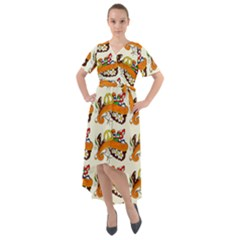 Love And Flowers And Peace Fo All Hippies Front Wrap High Low Dress by DinzDas