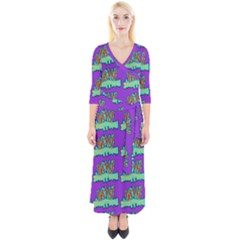Jaw Dropping Comic Big Bang Poof Quarter Sleeve Wrap Maxi Dress by DinzDas