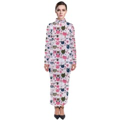 Adorable Seamless Cat Head Pattern01 Turtleneck Maxi Dress by TastefulDesigns
