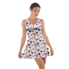 Adorable Seamless Cat Head Pattern01 Cotton Racerback Dress