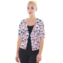 Adorable Seamless Cat Head Pattern01 Cropped Button Cardigan