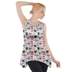 Adorable Seamless Cat Head Pattern01 Side Drop Tank Tunic