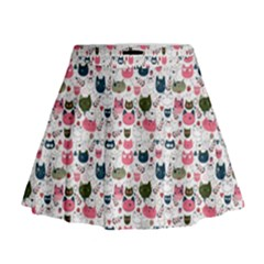 Adorable Seamless Cat Head Pattern01 Mini Flare Skirt by TastefulDesigns