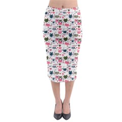 Adorable Seamless Cat Head Pattern01 Midi Pencil Skirt by TastefulDesigns