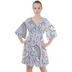 Seamless-pattern-with-cute-rabbit-character Boho Button Up Dress