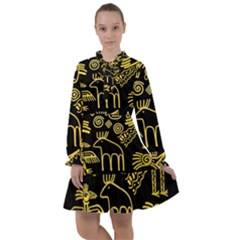 Golden-indian-traditional-signs-symbols All Frills Chiffon Dress by Bejoart