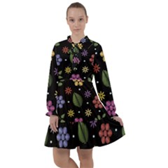 Embroidery-seamless-pattern-with-flowers All Frills Chiffon Dress by Bejoart