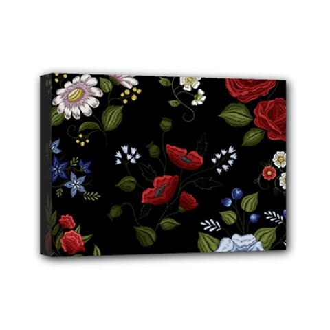 Floral-folk-fashion-ornamental-embroidery-pattern Mini Canvas 7  X 5  (stretched) by Bejoart