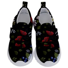 Floral-folk-fashion-ornamental-embroidery-pattern Kids  Velcro No Lace Shoes by Bejoart