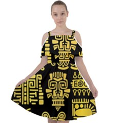 American-golden-ancient-totems Cut Out Shoulders Chiffon Dress