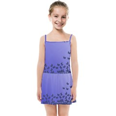 Gradient Butterflies Pattern, Flying Insects Theme Kids  Summer Sun Dress by Casemiro