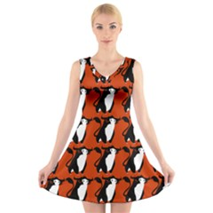 Bull In Comic Style Pattern - Mad Farming Animals V-neck Sleeveless Dress