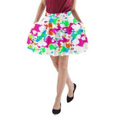 Bright Multicolored Abstract Print A-line Pocket Skirt