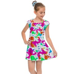 Bright Multicolored Abstract Print Kids  Cap Sleeve Dress