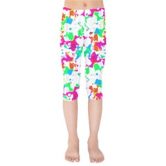 Bright Multicolored Abstract Print Kids  Capri Leggings  by dflcprintsclothing
