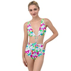 Bright Multicolored Abstract Print Tied Up Two Piece Swimsuit by dflcprintsclothing