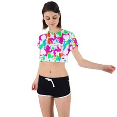 Bright Multicolored Abstract Print Tie Back Short Sleeve Crop Tee by dflcprintsclothing