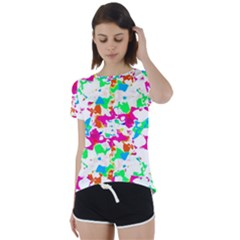 Bright Multicolored Abstract Print Short Sleeve Foldover Tee by dflcprintsclothing