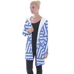 Geometric Blue And White Lines, Stripes Pattern Longline Hooded Cardigan