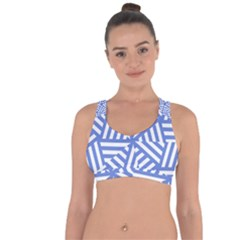 Geometric Blue And White Lines, Stripes Pattern Cross String Back Sports Bra by Casemiro