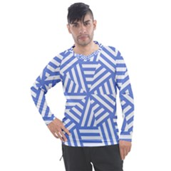 Geometric Blue And White Lines, Stripes Pattern Men s Pique Long Sleeve Tee