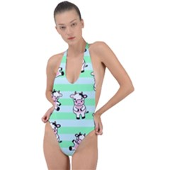 Cow Pattern Backless Halter One Piece Swimsuit