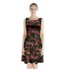 Red Dark Camo Abstract Print Sleeveless Waist Tie Chiffon Dress