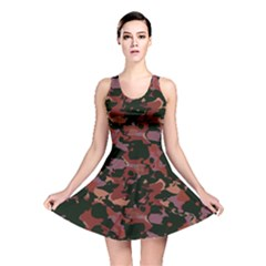Red Dark Camo Abstract Print Reversible Skater Dress