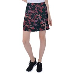 Red Dark Camo Abstract Print Tennis Skirt by dflcprintsclothing