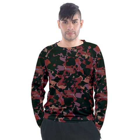 Red Dark Camo Abstract Print Men s Long Sleeve Raglan Tee by dflcprintsclothing