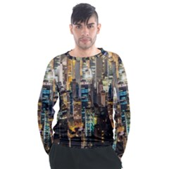 Beautiful Architecture Building Exterior Cityscape Hong Kong City Skyline Men s Long Sleeve Raglan Tee